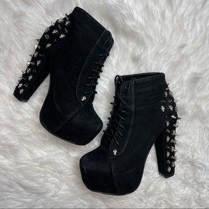 Glaze Black Studded Platform Heeled Ankle Booties